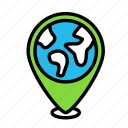 earth, globe, pin icon
