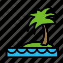 island, ocean, palm