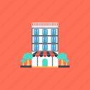 hotel, hotel building, motel, tourist guest house, tourist home icon