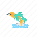 beach, coastline, paradise island, sunbath, waterfront icon