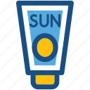 sun oil, sunblock, sunburn cream, sunscreen, suntan lotion icon