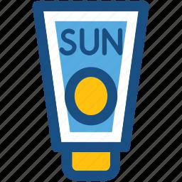 sun oil, sunblock, sunburn cream, sunscreen, suntan lotion icon
