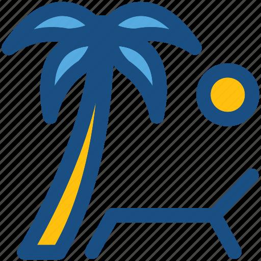 beach, palm tree, sun, sun tanning, sunbathe, tanning icon