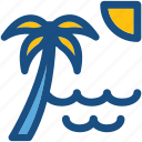 beach, palm tree, sea, seaview, sunset icon