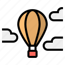 adventure, balloon, cloud, mountain, sky, travel icon