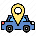 car, gps, location, pin, taxi, travel icon