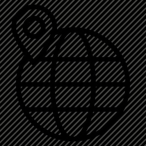 globe, location, map, pin, world icon