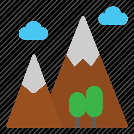 landscape, mountains, nature, peak, travel icon
