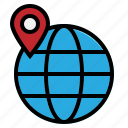 globe, location, map, pin, world icon