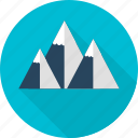 high above, mountain, snow, travel icon