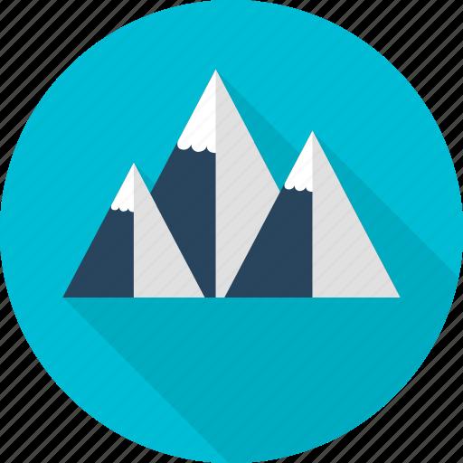 high above, mountain, snow, travel icon