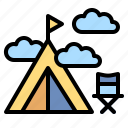 camping, forest, landscape, tent, travel icon