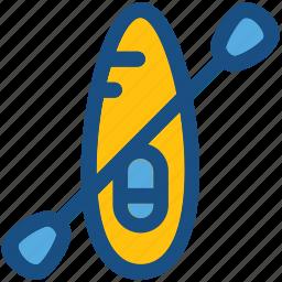 boating, canoe, canoe paddle, canoe with oar, canoeing icon