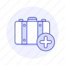 add, bag, baggage, briefcase, journey, luggage, plus, sign, suitcase, travel, trip icon