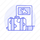 airport, baggage, belt, briefcase, flight, journey, luggage, suitcase, transport, travel, trip icon
