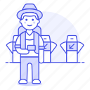 backpack, bagpacker, luggage, male, passenger, ticket, tourist, travel, travelers, trip, turnstile icon