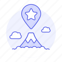 app, best, favorite, fuji, gps, landmarks, mountain, pin, places, see, spot, star, to, travel icon