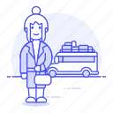 adventure, bus, female, holiday, journey, luggage, tourist, travel, traveler, travelers, trip, vacation icon