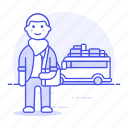 adventure, bus, holiday, journey, luggage, male, tourist, travel, traveler, travelers, trip, vacation icon