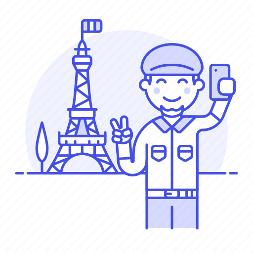 eifel, eiffel, france, holiday, male, paris, selfie, tourist, tower, travel, travelers, vacation icon