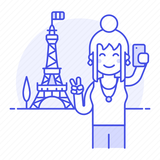 eifel, eiffel, female, france, holiday, paris, selfie, tourist, tower, travel, travelers, vacation icon