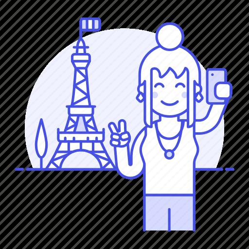 Eifel, eiffel, female, france, holiday, paris, selfie icon - Download on Iconfinder