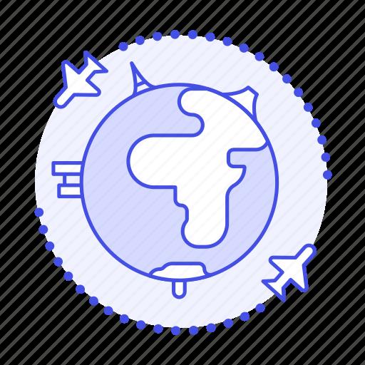abroad, building, flight, globe, journey, mini, overseas, plane, planet, round, travel, trip icon