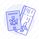 abroad, airplane, flight, international, journey, overseas, passport, ticket, travel, trip icon