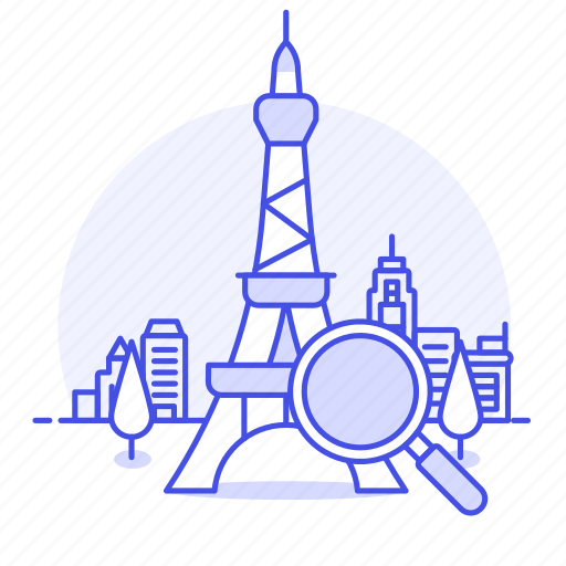 Destination, eiffel, info, landmark, landmarks, location, magnifier icon - Download on Iconfinder