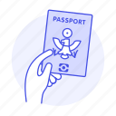 1, abroad, flight, hand, hold, international, journey, overseas, passport, travel, trip icon