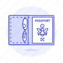 abroad, cover, international, journey, open, overseas, passport, travel, trip, wallet icon
