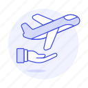 agency, aircraft, airplane, airport, flight, hand, info, journey, plane, share, travel, trip icon