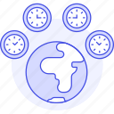 clock, difference, globe, offset, planet, standard, time, timezone, travel, utc, world, zone icon