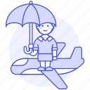 airplane, coverage, female, flight, insurance, journey, plane, travel, trip, umbrella icon