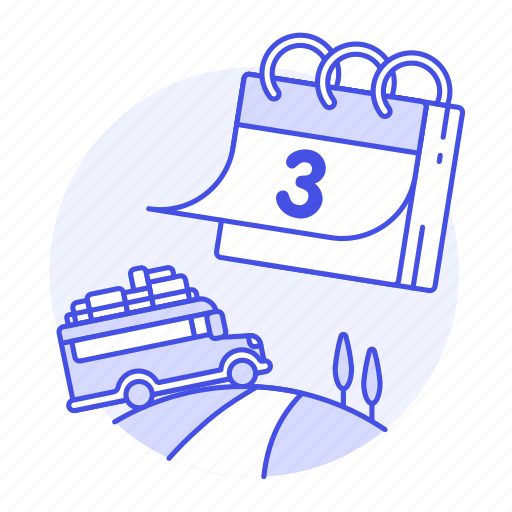 baggage, bus, calendar, holiday, journey, luggage, travel, trip, vacation icon