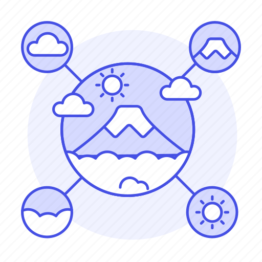 fuji, gps, information, landmarks, meteorology, mountain, network, places, see, to, travel, weather icon