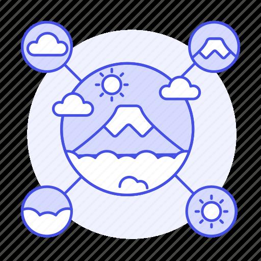Fuji, gps, information, landmarks, meteorology, mountain, network icon - Download on Iconfinder