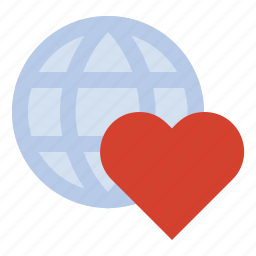 globe, heart, travel icon