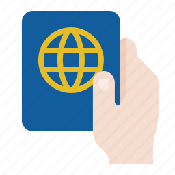 hand, passport, travel icon