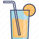 beverage, cocktail, drink, glass, juice, straw icon