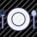 dinner, fork, meal, plate, restaurant, spoon