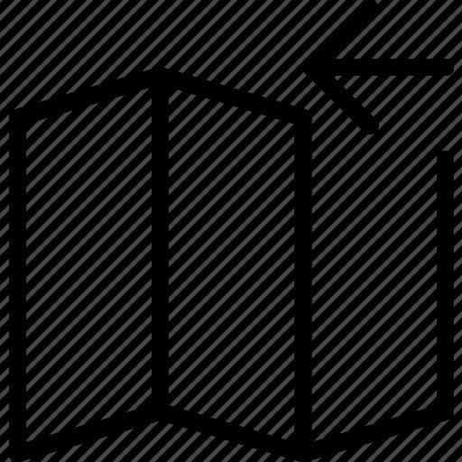 arrow, left, map, transport, travel icon