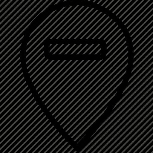 mark, minus, pin, remove, transport, travel icon