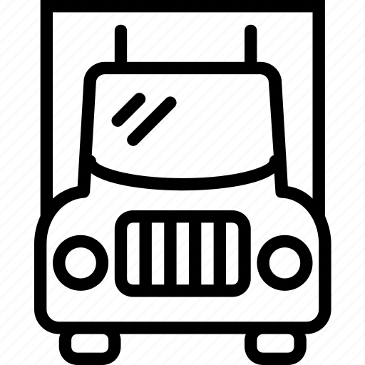front, transport, travel, truck, view icon