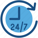 24/7, customer service, customer support, helpline, hotline icon