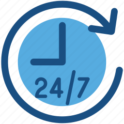 24/7, customer service, customer support, helpline, hotline icon