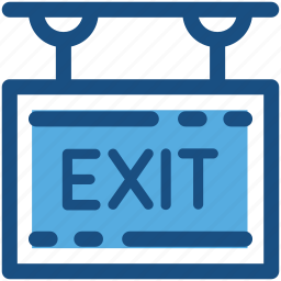 emergency exit, exit sign, hanging sign, out, signboard icon