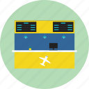 airplane, airport, counter, electronic display, monitor icon