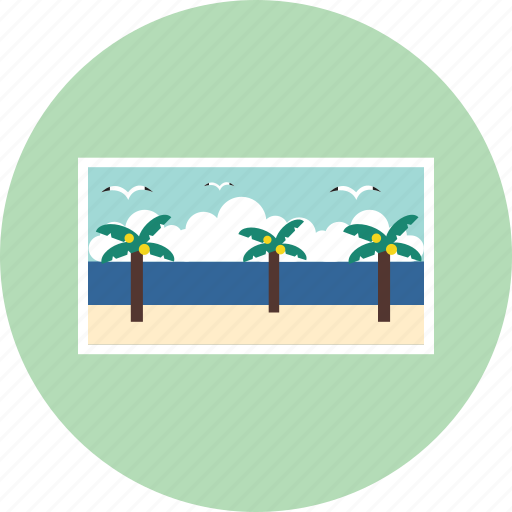 frame, palm tree, picture, vacation, window icon