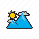 cloud, mountain, sun, travel icon